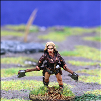 Female Hero with Dual Axes - Front View