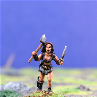 Female Warrior 2 with Dual Hand Weapons - Front View