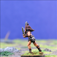 Female Warrior 2 with Dual Hand Weapons - Side View