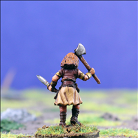 Female Warrior 3 with Dual Hand Weapons - Rear View