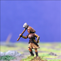 Female Warrior 3 with Dual Hand Weapons - Side View