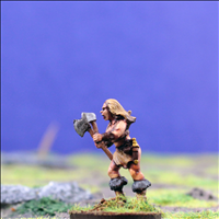 Female Warrior 4 with Dual Hand Weapons - Side View