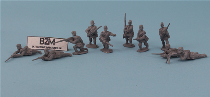 Rifle Squad with Pilotka Caps and Coat Rolls